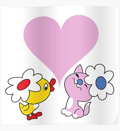 Kitty and duckling in love Poster