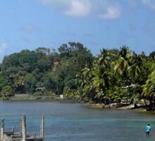 a vast Dominica landscape Sticker
