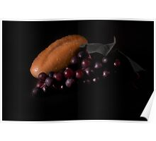 Bread and red grapes Poster