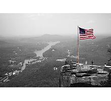 Chimney Rock Flag Photographic Print