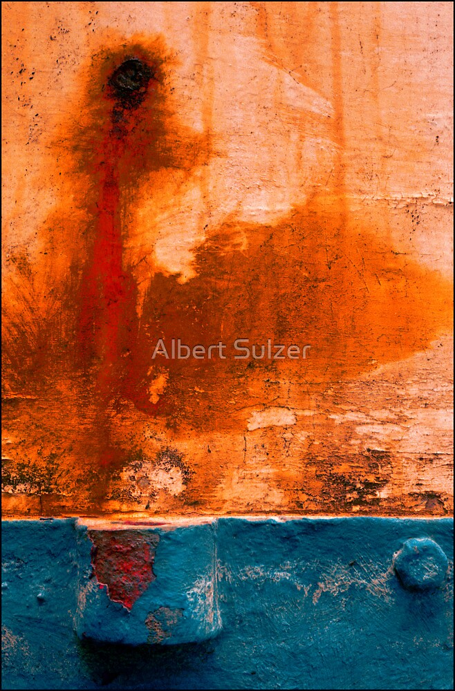 Abstract Boats- 11'  Rust-Blue' by Albert Sulzer