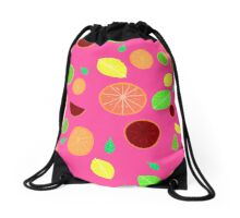 Colorful citrus background (Pink) Drawstring Bag