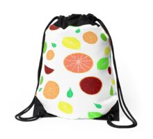 Colorful citrus background (White) Drawstring Bag