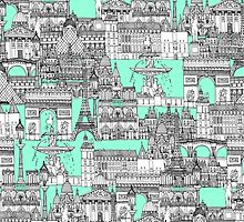 Paris toile aquamarine by Sharon Turner