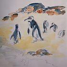 Penguins preening by Fran Webster