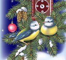 Singing Holiday Birds by lydiasart