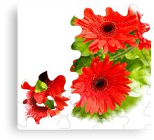 Puzzle-look gerbera photo Canvas Print