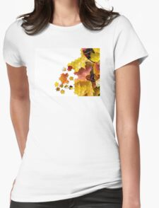 Autumn leaves puzzle-look image Womens Fitted T-Shirt
