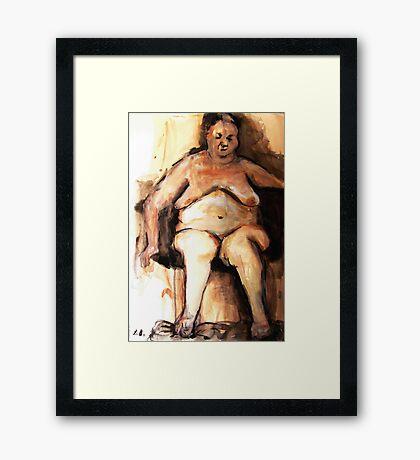 Fatlady - ink on paper Framed Print