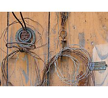 Vintage iron elements on a old shed Photographic Print