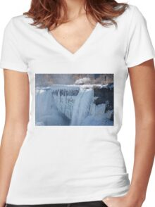 Icy Niagara Falls Women's Fitted V-Neck T-Shirt