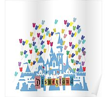 Vintage Disneyland Castle and Balloons Poster