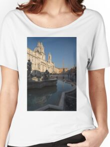 Roman Morning - Shadow and Light on Piazza Navona, Rome, Italy Women's Relaxed Fit T-Shirt