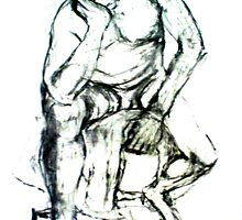 Sitting man - loose drawing in charcoal by Lorry666