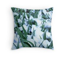 Snow Among the Daylilies Throw Pillow