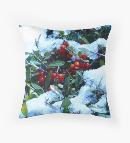 Holly Bush Covered in Snow Throw Pillow