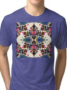 Bright Folk Art Pattern - hot pink, orange, blue & green Tri-blend T-Shirt