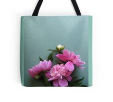 pink peony blooms on green background Tote Bag