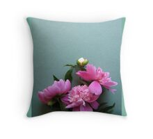 pink peony blooms on green background Throw Pillow