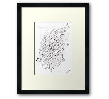 0110 - The Thinking Man in Black Lines Framed Print