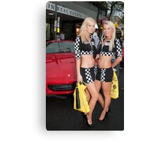Lycra among the engines, Classic Adelaide Car Rally Canvas Print