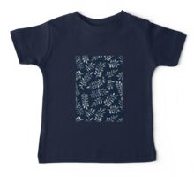 White Leaves on Navy - a hand painted pattern Baby Tee