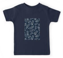 White Leaves on Navy - a hand painted pattern Kids Tee