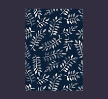 White Leaves on Navy - a hand painted pattern T-Shirt