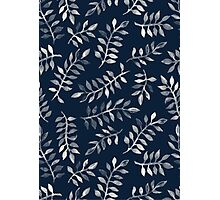 White Leaves on Navy - a hand painted pattern Photographic Print