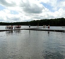 Line of boy scout swimmers ready to test in the waters of cold lake Courage, Heritage Resevation by Iva Penner