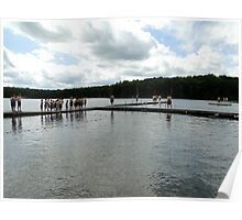 Line of boy scout swimmers ready to test in the waters of cold lake Courage, Heritage Resevation Poster