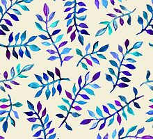 Hand Painted Purple & Aqua Leaf Pattern on Cream by micklyn