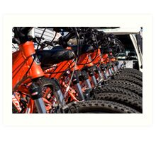 Mountain bikes in row Art Print