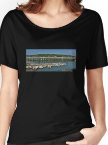 Summer Day at Northport Harbor (Panorama) Women's Relaxed Fit T-Shirt
