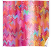 Colorful painted chevron pattern Poster