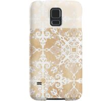 White Doodle Pattern on Sepia Ink Samsung Galaxy Case/Skin