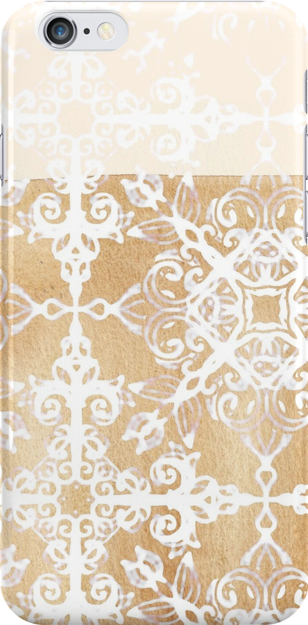 White Doodle Pattern on Sepia Ink by micklyn