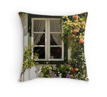 Bloomy window Throw Pillow