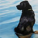 Black Lab in Water by Charlotte Yealey