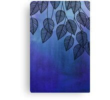 Midnight Blue Garden - watercolor & ink leaves Canvas Print