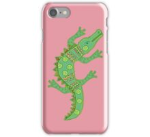 Green crocodile with floral pattern iPhone Case/Skin