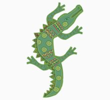 Green crocodile with floral pattern Kids Clothes