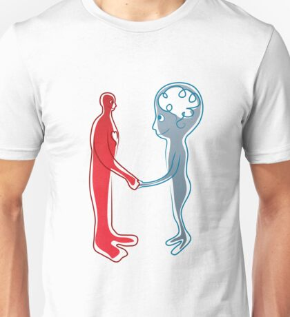 Body and mind shaking hands Unisex T-Shirt