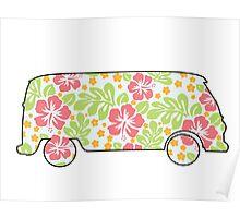 VW Camper - Hibiscus Print Poster