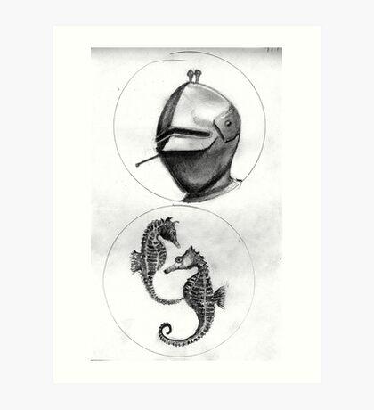 helmet and seahorses Art Print
