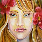 Red Flowers in Hair by Gayle Utter
