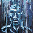 Blue Man Silouette  by Gayle Utter