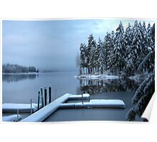 Winter reflections Shawnigan Lake  Poster
