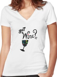 got wine? retro  Women's Fitted V-Neck T-Shirt