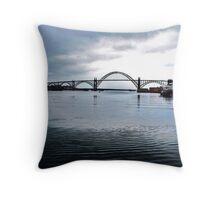 Yakima Bridge from Downtown Newport, Oregon Throw Pillow